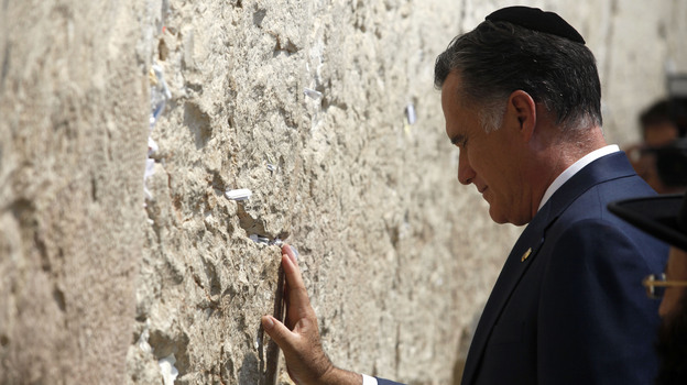 Republican presidential candidate Mitt Romney visited  the Western Wall in Jerusalem's old city on Sunday. (Getty Images)