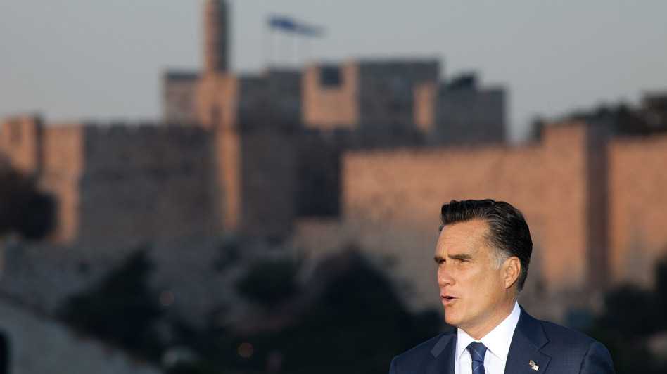 "Mitt Romney speaks in Jerusalem on Sunday, backing  ""any and all measures"" to keep Iran from developing nuclear weapons. (Getty Images)"