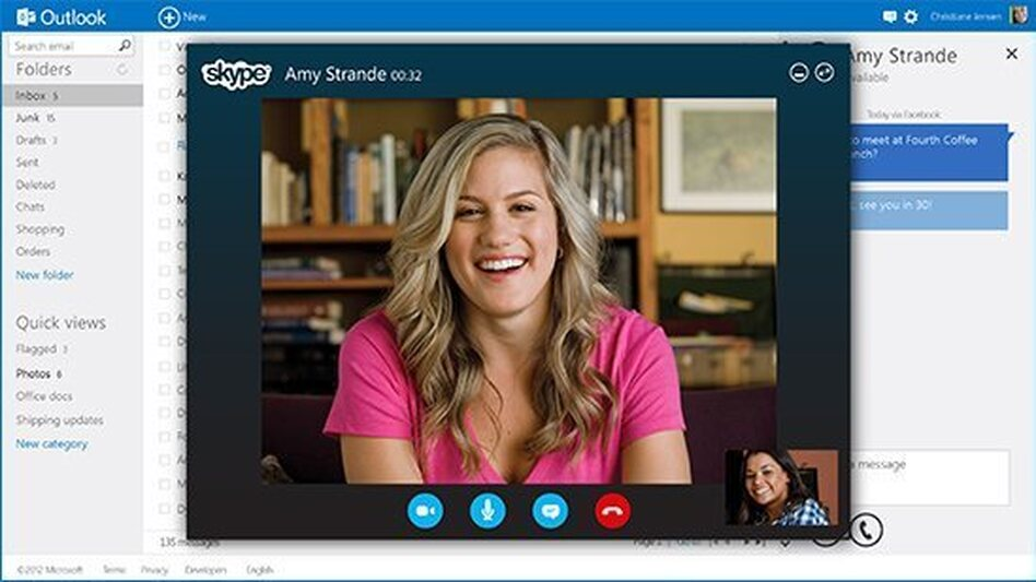 The new Outlook is incorporated with other services like Skype. (Microsoft)