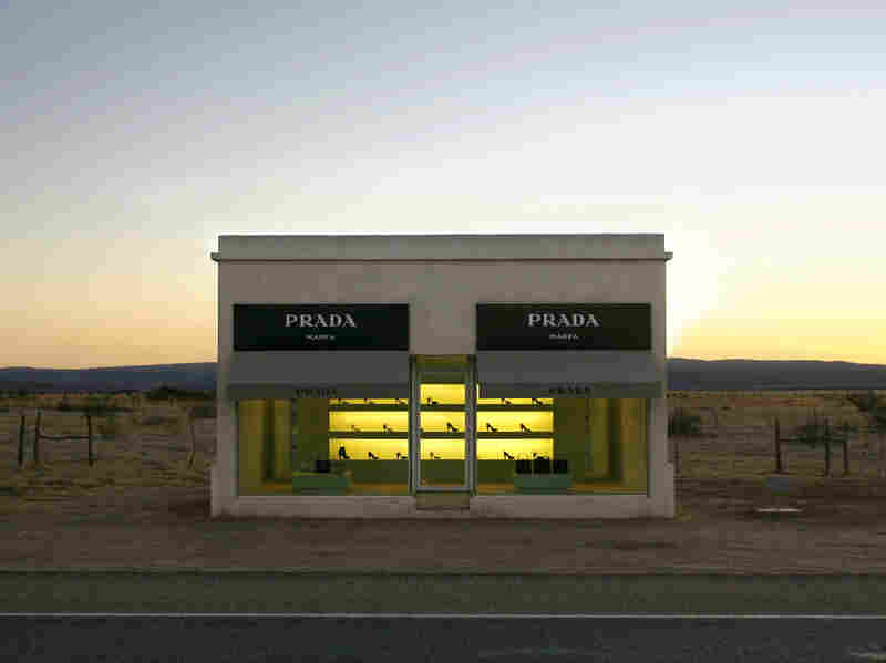 Prada, Marfa is a faux boutique displaying luxury bags and shoes in the middle of the sparse Texas landscape. It was created in 2005 by artist duo Michael Elmgreen and Ingar Dragset.
