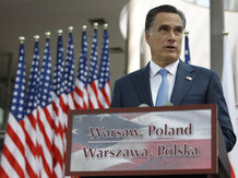 Mitt Romney speaks at the University of Warsaw Library in Warsaw, Poland, on Tuesday.