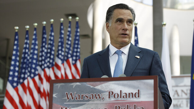Mitt Romney speaks at the University of Warsaw Library in Warsaw, Poland, on Tuesday. (AP)