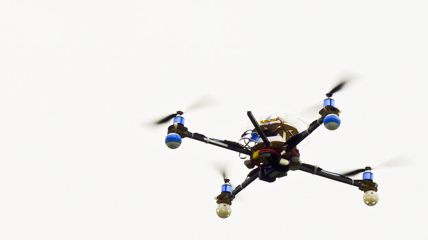 A homemade drone over Cesar Chavez Park in Berkeley, Calif. Hobbyists and commercial manufacturers are anticipating new rules governing their domestic use.