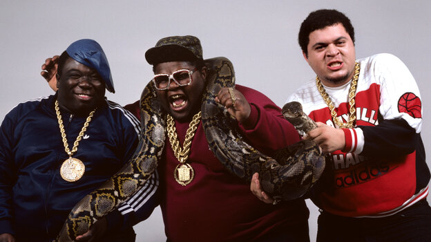 "The Fat Boys in 1990. Left to right: Damon ""Kool Rock-Ski"" Wimbley, Darren ""Buff Love"" Robinson and Mark ""Prince Markie Dee"" Morales."