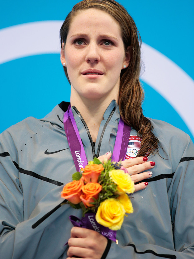 Missy Franklin stands on the podium with her gold medal, after winning the 100m backstroke at the London 2012 Olympic Games. Of that moment, she says,