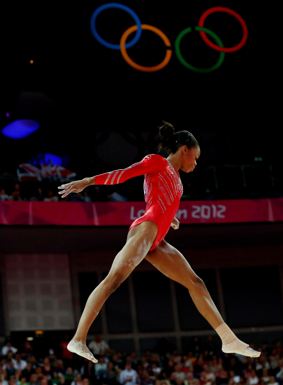 <strong>Young Skywalker:</strong> Gabby Douglas helped solidify the U.S. women's team grip on gymnastics gold. The Americans beat Russia and Romania.