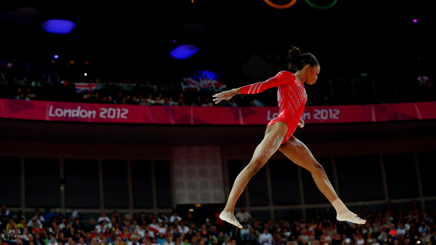 Young Skywalker: Gabby Douglas helped solidify the U.S. women's team grip on gymnastics gold. The Americans beat Russia and Romania. (Getty Images)