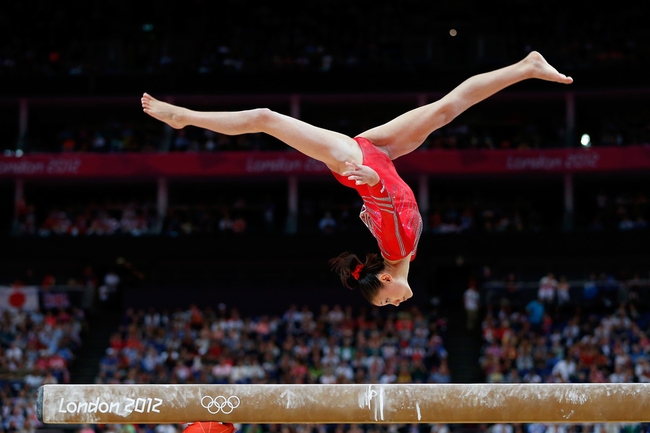 U.S. gymnast Kyla Ross competes on the balance beam in the Artistic Gymnastics Women's Team final. The U.S. team won gold. (Getty Images)
