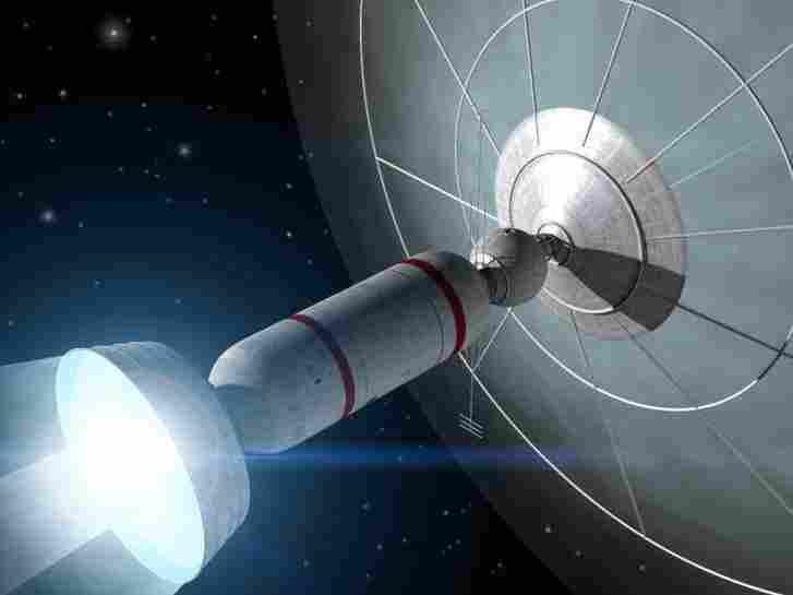 """An artists rendition of an interstellar """"Bussard Ram-Jet"""" starship."""