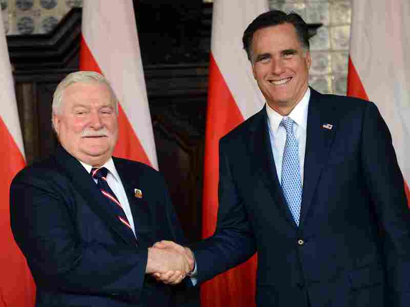 Republican presidential candidate Mitt Romney pauses for a photo with former Polish President and Nobel Peace Prize winner Lech Walesa during a meeting at Artus Court in Gdansk on July 30.