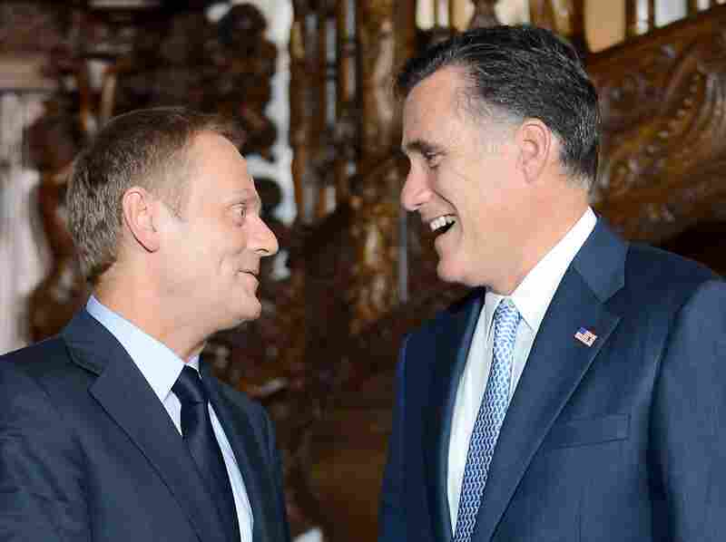 Republican presidential candidate and former Governor of Massachusetts Mitt Romney speaks with Polish Prime Minister Donald Tusk during a meeting at Artus Court in Gdansk on July 30.