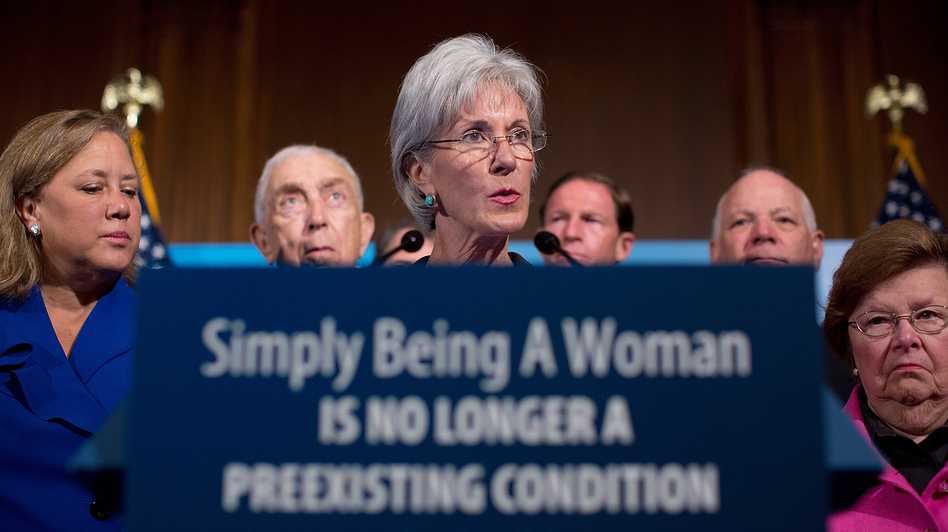 Health and Human Services Secretary Kathleen Sebelius joins Democratic senators at a news conference on Capitol Hill on Tuesday to announce new preventive health coverage for women that takes effect Wednesday. (Getty Images)