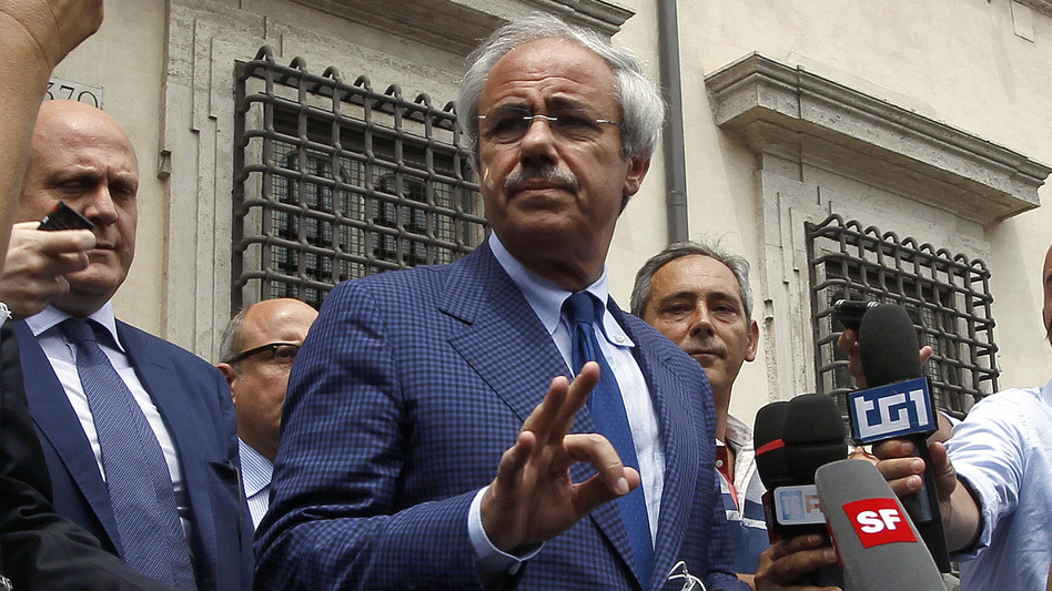 Raffaele Lombardo, the governor of Sicily, speaks to reporters after his meeting with Italian Prime Minister Mario Monti in Rome last week. Lombardo has been accused of having ties to the Mafia in Sicily.