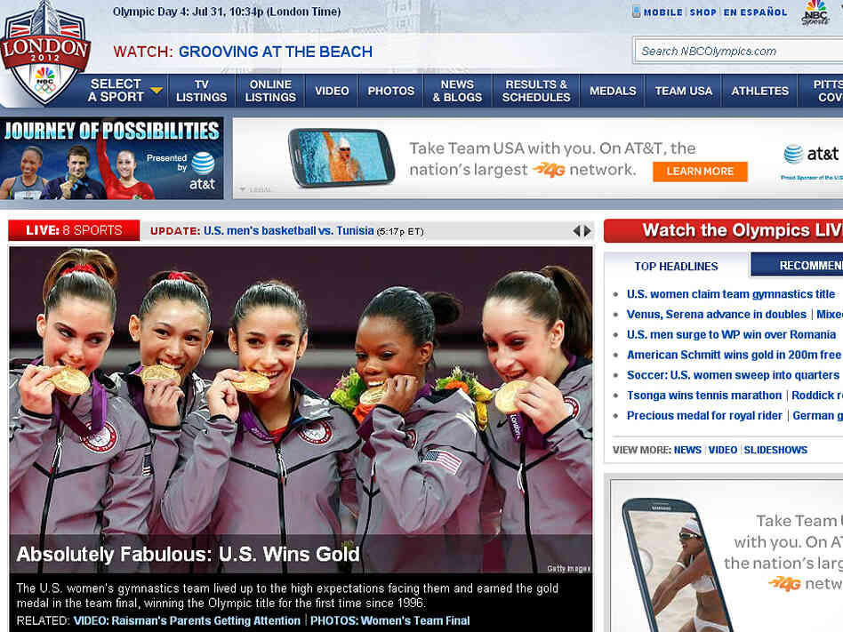 On its website, NBC reported the U.S. women's gymnastics team's gold medal Tuesday. But if you were watching on American TV, you had to wait until prime time to see the competition.