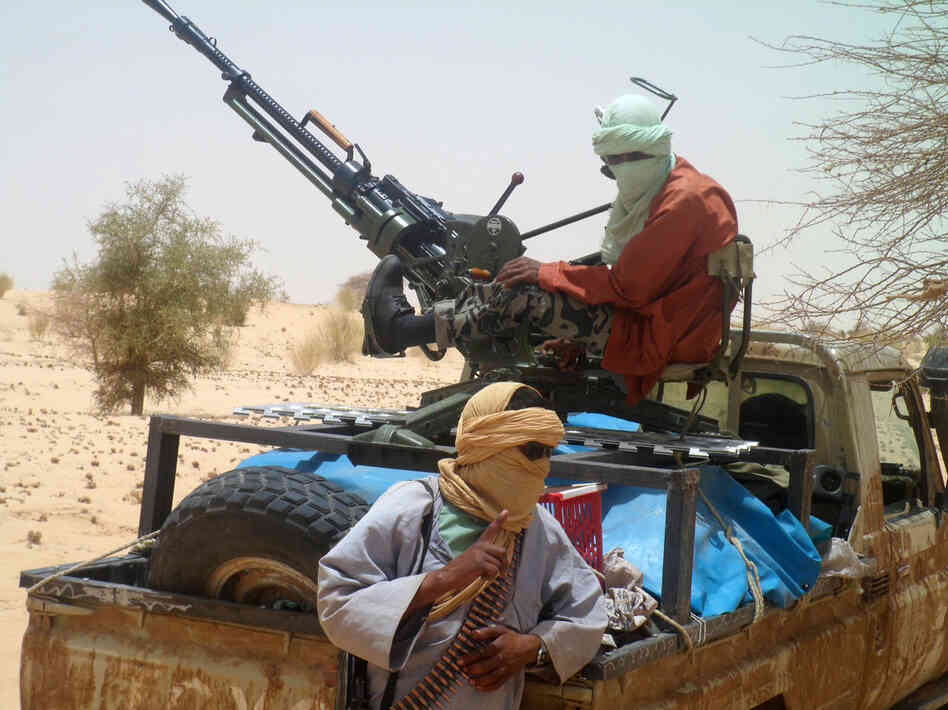 Islamist rebels of Ansar Dine near Timbuktu, in rebel-held northern Mali, during the release of a Swiss hostage on April 24.