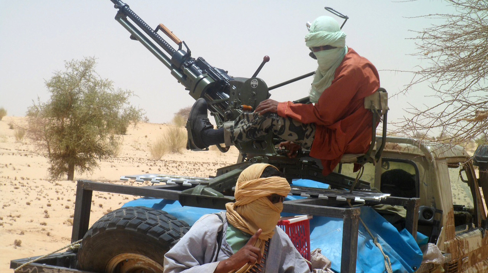 Islamist rebels of Ansar Dine near Timbuktu, in rebel-held northern Mali, during the release of a Swiss hostage on April 24. (AFP/Getty Images)