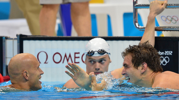 <strong>Yo Adrian!</strong> Swimmer Nathan Adrian (right) celebrates with Canada's Brent Hayden (left) after winning the men's 100m freestyle at the London 2012 Olympic Games.