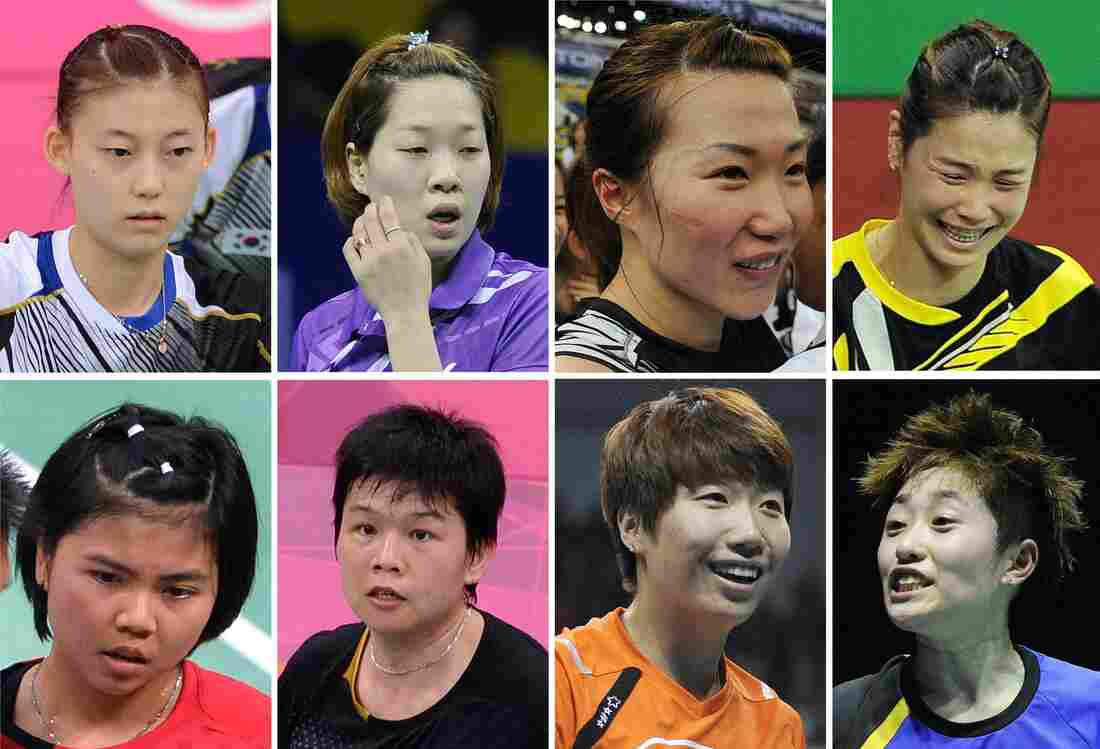 The Badminton Eight: That's the media's new nickname for the Olympic athletes disqualified Wednesday in a match-fixing scandal at the London Games. They are, from top left: South Korea's Kim Ha Na, Ha Jung-Eun, Kim Min-Jung and Jung Kyung-Eun. Bottom: Indonesia's Greysia Polii and Meiliana Jauhari, and China's Wang Xiaoli and Yu