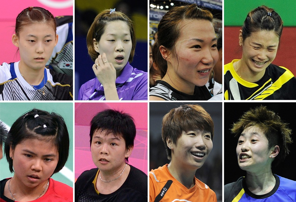 <strong>The Badminton Eight:</strong> That's the media's new nickname for the Olympic athletes disqualified Wednesday in a match-fixing scandal at the London Games. They are, from top left: South Korea's Kim Ha Na, Ha Jung-Eun, Kim Min-Jung and Jung Kyung-Eun. Bottom: Indonesia's Greysia Polii and Meiliana Jauhari, and China's Wang Xiaoli and Yu Yang. (AFP/Getty Images)