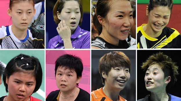 The Badminton Eight: That's the media's new nickname for the Olympic athletes disqualified Wednesday in a match-fixing scandal at the London Games. They are, from top left: South Korea's Kim Ha Na, Ha Jung-Eun, Kim Min-Jung and Jung Kyung-Eun. Bottom: Indonesia's Greysia Polii and Meiliana Jauhari, and China's Wang Xiaoli and Yu Yang. (AFP/Getty Images)