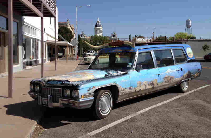 """""""You just come out here and you feel like, I want to make something; I want to do something!"""" explains sculptor Campbell Bosworth. Above, a creative car, spotted on the street in Marfa."""