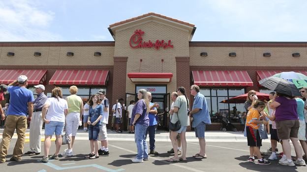 The line stretched into the parking lot today at a Chick-fil-A restaurant in Wichita, Kan. (MCT /Landov)