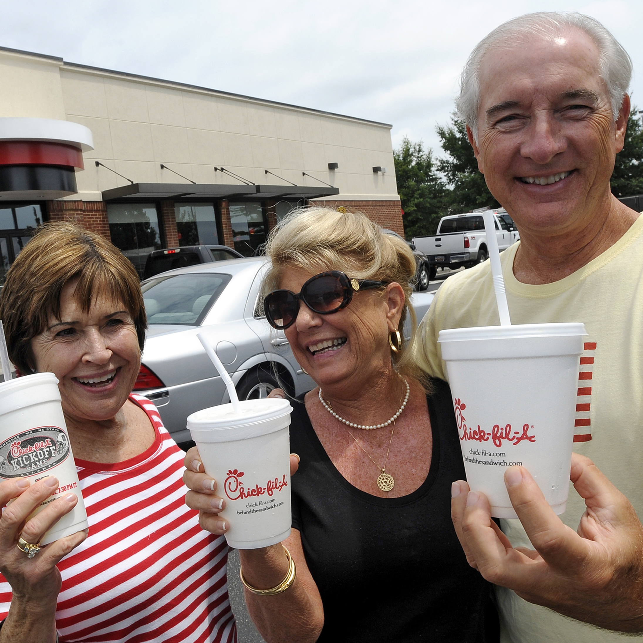 In Myrtle Beach, S.C., today,  Brenda Howard (left) joined friends Cecelia and Hines Pegram for lunch on Chick-fil-A Appreciation Day.