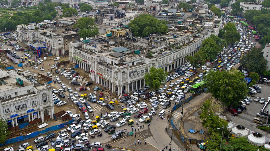 The traffic in New Delhi's Connaught Place was even worse than usual after the power went out Tuesday. But most Indians viewed the blackout as just one more inconvenience rather than a major crisis. (AFP/Getty Images)