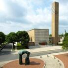 Architect Eliel Saarinen's First Christian Church (1942) helped launch a design revolution in Columbus, Ind. Nearly 30 years later, as part of that same movement, sculptor Henry Moore created the 20-foot-tall Large Arch as a piece of art that could be walked through and around.