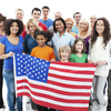 Group of people with an American flag.