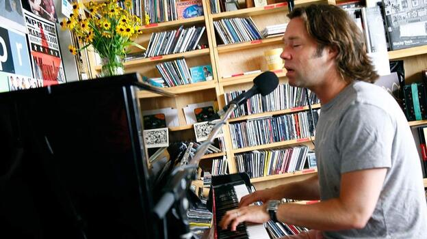 Rufus Wainwright performs a Tiny Desk Concert, at the NPR Music offices on July 24, 2012. (NPR)