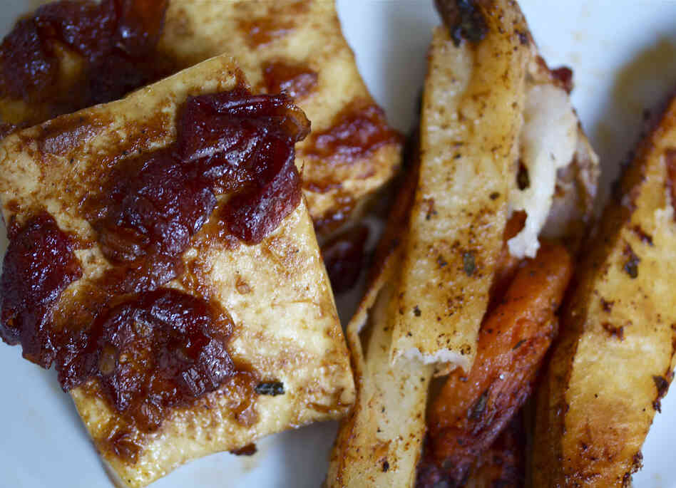 Bourbon-Glazed Baked Tofu With Spicy Roasted Red And Sweet Potatoes
