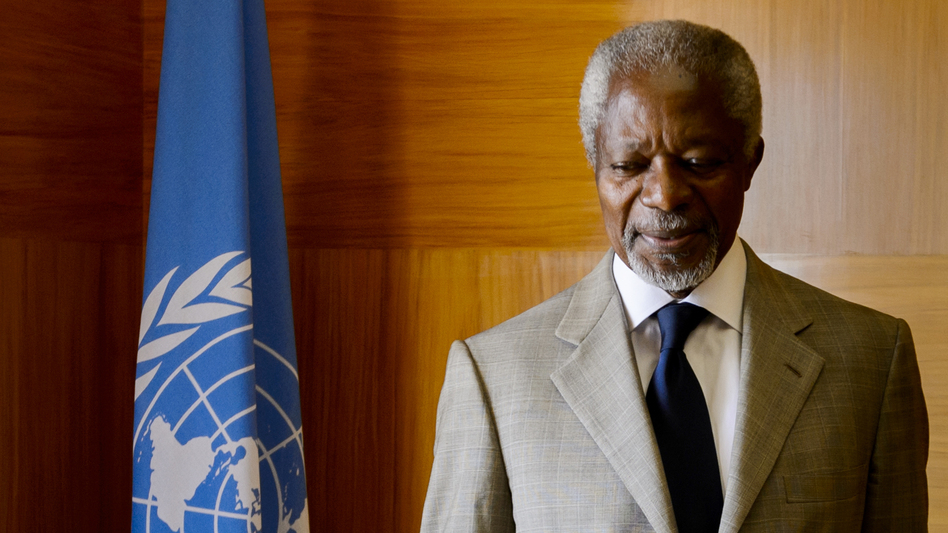 UN-Arab League envoy Kofi Annan looks on before a meeting at his office at the United Nations Offices in Geneva. (AFP/Getty Images)