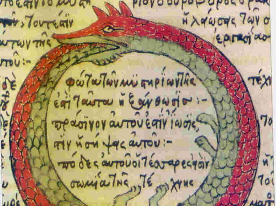 A 15th-century depiction of the ouroboros, a serpent devouring itself.