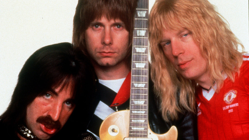 Harry Shearer (left), Christopher Guest (center) and Michael McKean play the British band Spinal Tap, created for Rob Reiner's 1984 mock rockumentary This Is Spinal Tap. (AP)