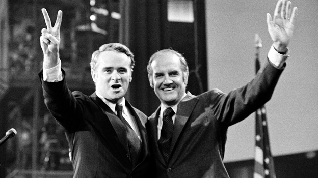 Sens. Thomas Eagleton (left) and George McGovern celebrate their candidacy for vice president and president, respectively, at the Democratic National Convention in 1972. (AP)