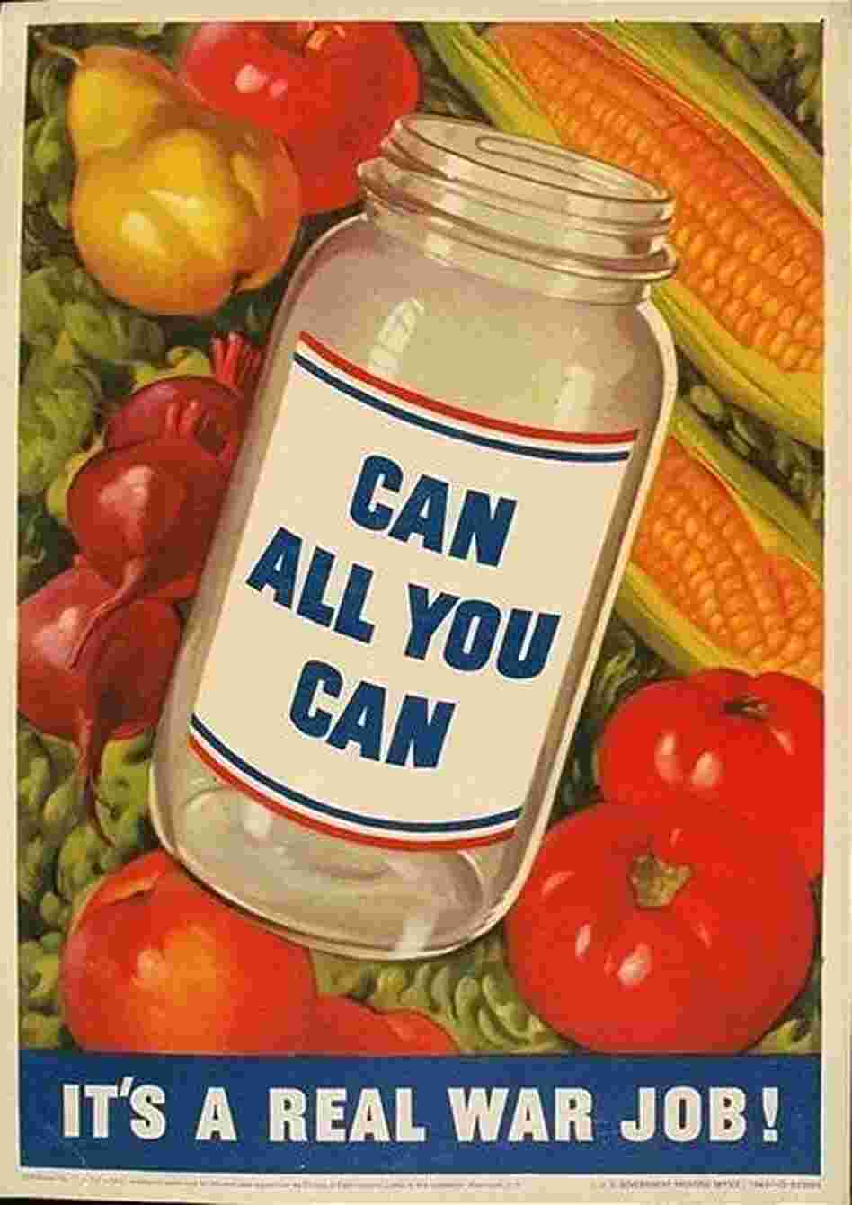During World War II, the government used posters to encourage Americans to grow and preserve their own foods as a way to aid the war effort. Produced by the Office of War Information in 1943.