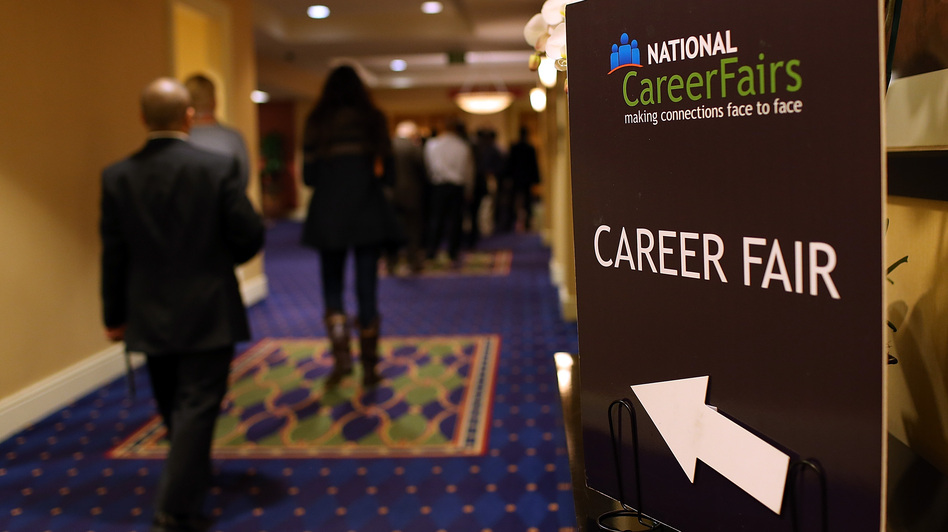 A sign pointing the way to a career fair in San Mateo, Calif., last month. (Getty Images)