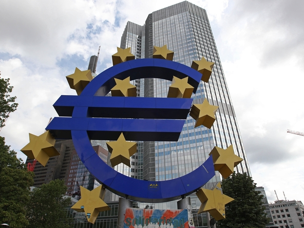 A giant logo of the euro currency stands in front of the European Central Bank in the banking district of Frankfurt, Germany on July 31. (AFP/Getty Images)