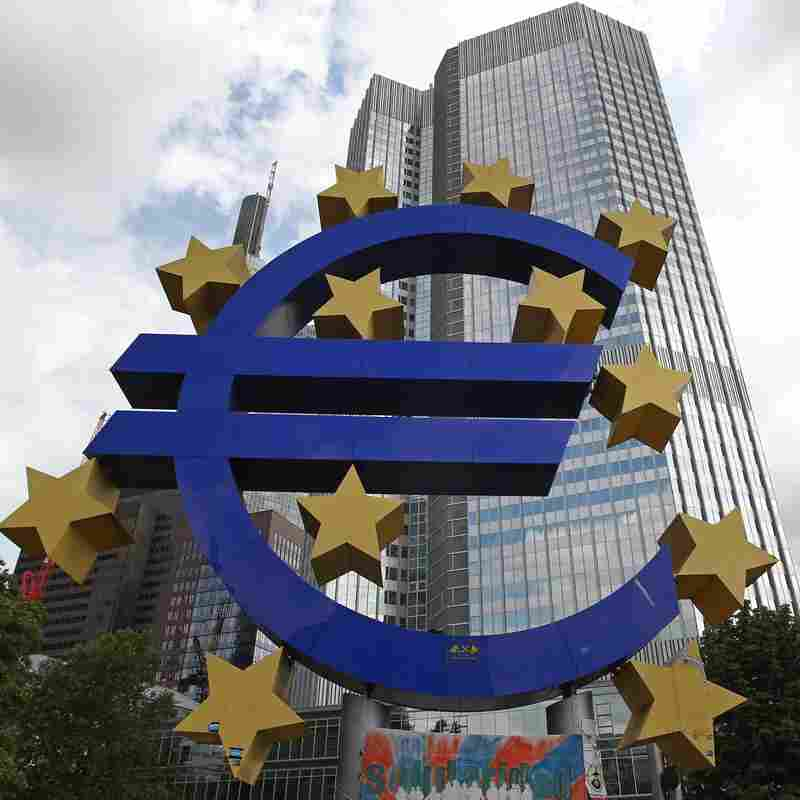A giant logo of the euro currency stands in front of the European Central Bank in the banking district of Frankfurt, Germany on July 31.