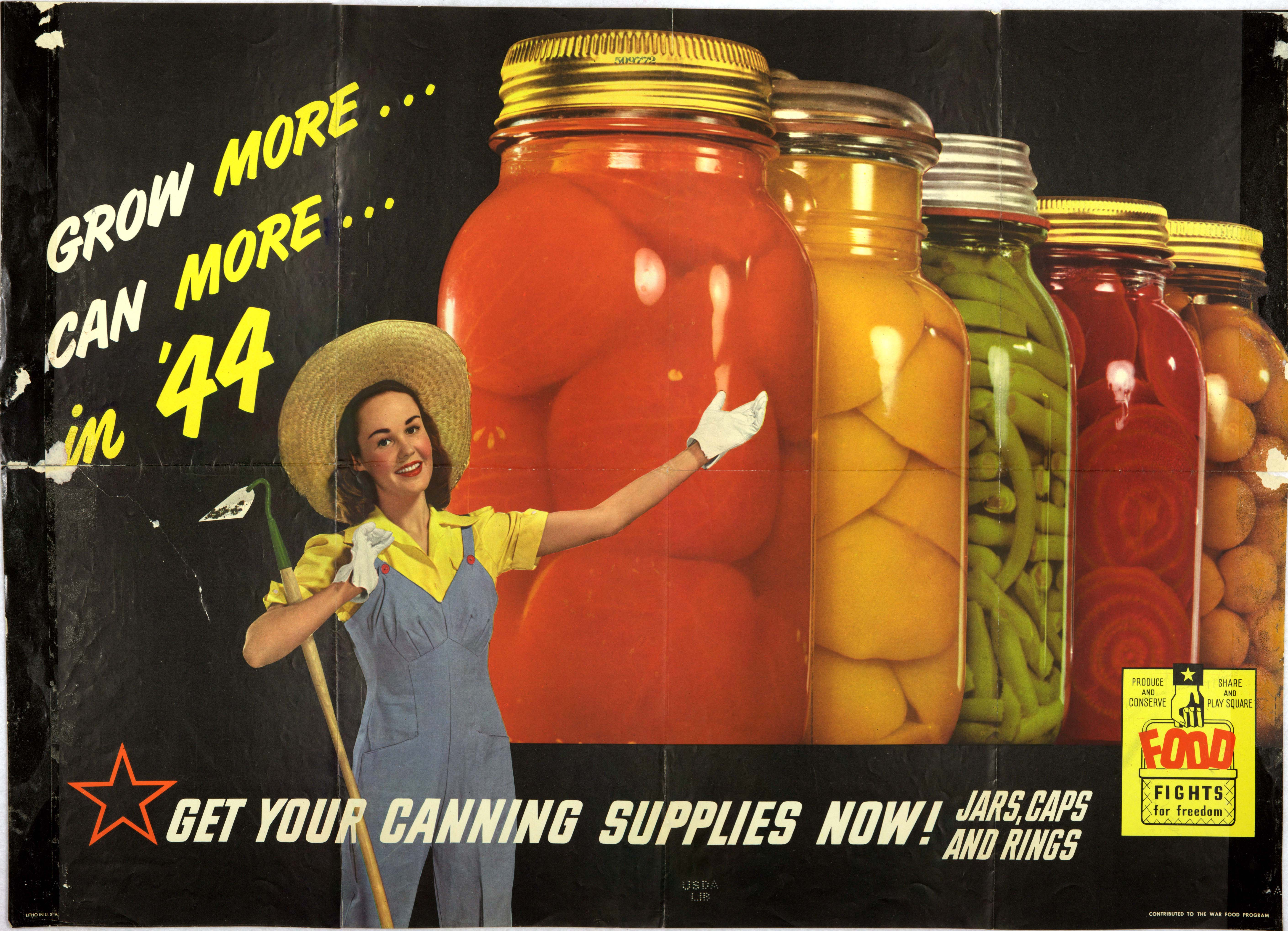 A victory gardener displays her beautifully preserved produce in this ad from the War Food Program in 1944.