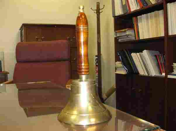 In one part of the BLS offices, a supervisor rings this bell to let employees know that it is officially 8:30 AM.