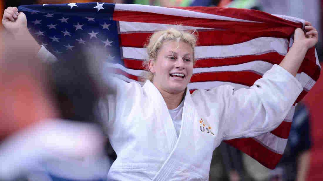 U.S. judoka Kayla Harrison reacts after winning the women's 78kg gold medal at London's ExCel arena.