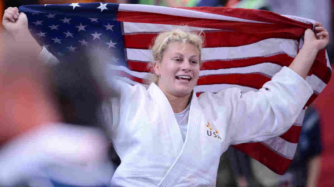 U.S. judoka Kayla Harrison reacts after winning the women's 78kg gold medal at London's ExCel arena.