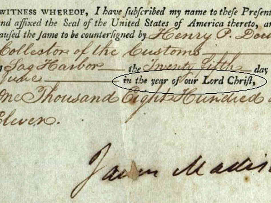 "Barton claims Jefferson, unlike the other presidents, closes his documents ""In the year of our Lord Christ."" It's actually a standard form of closing documents, used here by James Madison."