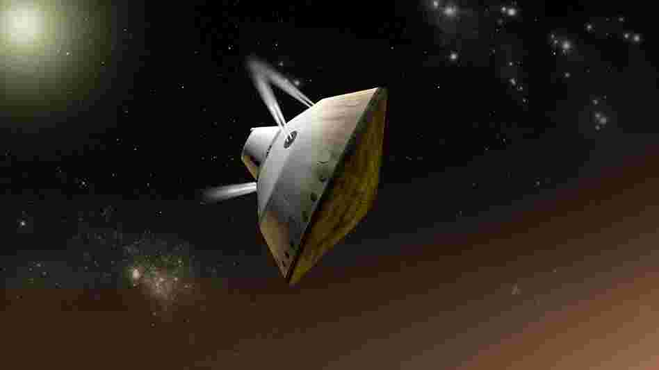 This artist's concept shows thrusters firing to steer the spacecraft as it enters Martian atmosphere. The Curiosity rover has traveled for more than seven months inside the spacecraft.