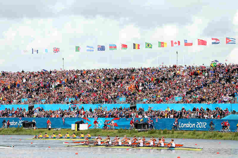 The U.S. rowing team leads the Netherlands team during the Women's Eight final. The U.S. placed first.