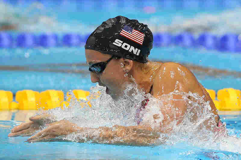 U.S. swimmer Rebecca Soni competes in the Women's 200m Breaststroke Final. Soni set a new world record time of 2:19.59 for the event.