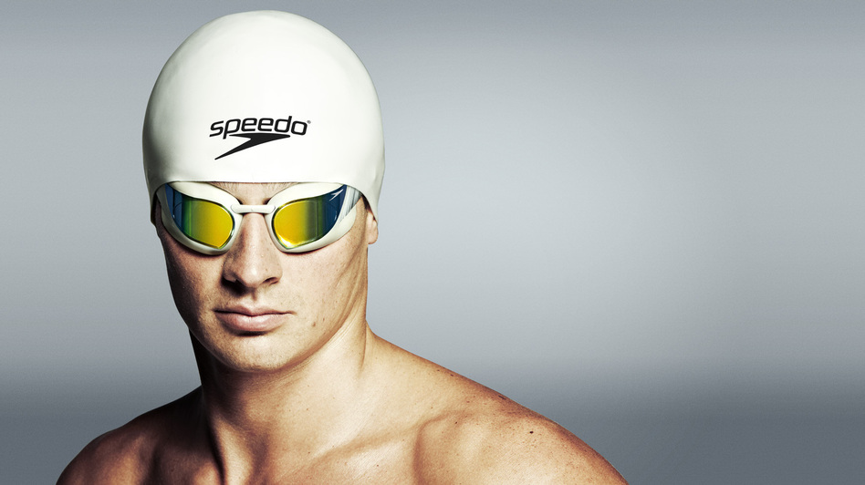 Gold medalist Ryan Lochte swims in Speedo's Fastskin3 system, which incorporates two caps and custom-fitted goggles.