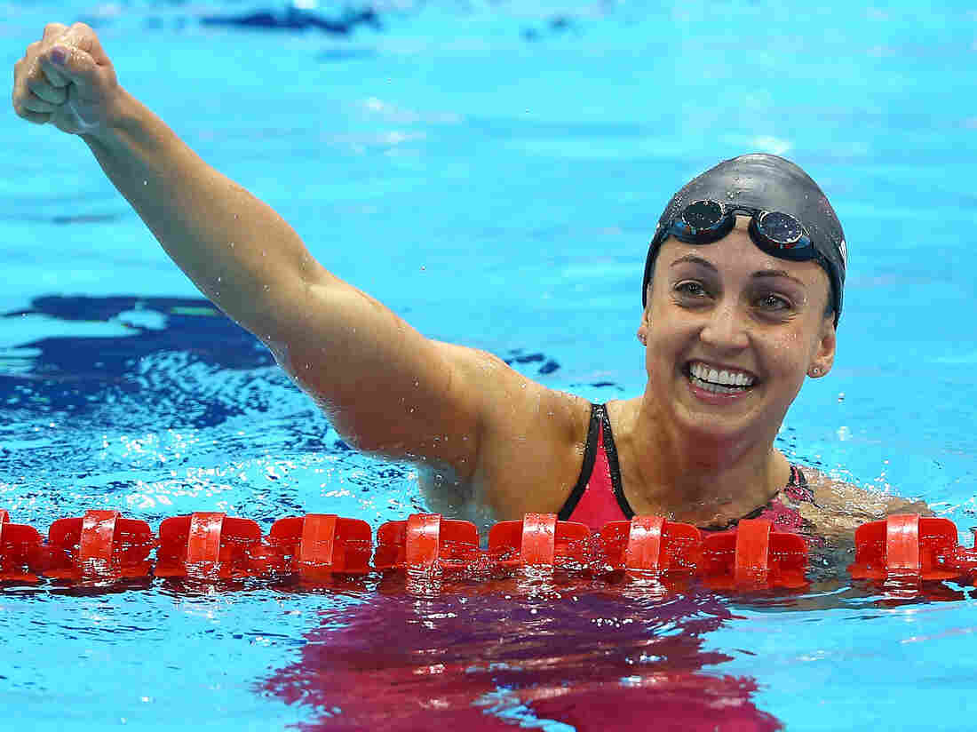 Rebecca Soni of the United States celebrates after setting a new world record time of 2:19.59 in the women's 200m breaststroke and winning a gold medal Thursday.